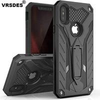 VRSDES чехол для iPhone 7 8, ударопрочный, в стиле милитари, с защитой от падения, силиконовый чехол для iPhone 6, 6s Plus X, 5, SE, с подставкой, чехол из ТПУ