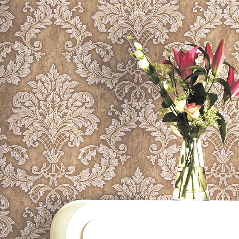 European Modern Damask Wallpaper 3D Non Woven Bedroom Living Room Embossed Floral Home Decor Wall Paper Roll beautiful europe flowers wallpaper self adhesive non woven 3d floral wallpapers roll living room bedroom mural wall paper qz104