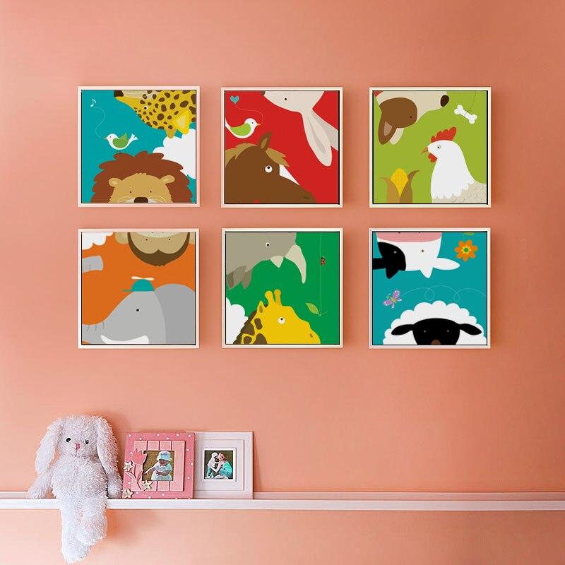 Lienzo Simple con bonitos dibujos animados de sueños y animales, pintura artística impresa, póster, imagen de pared, cabecera de cama, habitación de bebé, decorativo BA034