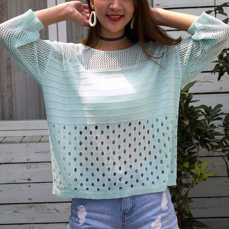 Señoras verano Hollow Out Pull Knitted Causal Tops señoras prendas de punto moda Jumper sólido mujeres Pullovers Corea prendas de punto Mujer