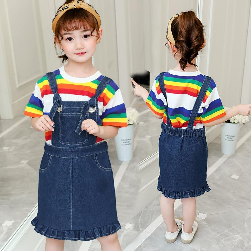 Conjunto de ropa para niños niñas adolescentes verano Denim correas vestido Arco Iris camiseta monos dos piezas niños trajes 6 8 10 12 a 14 años.