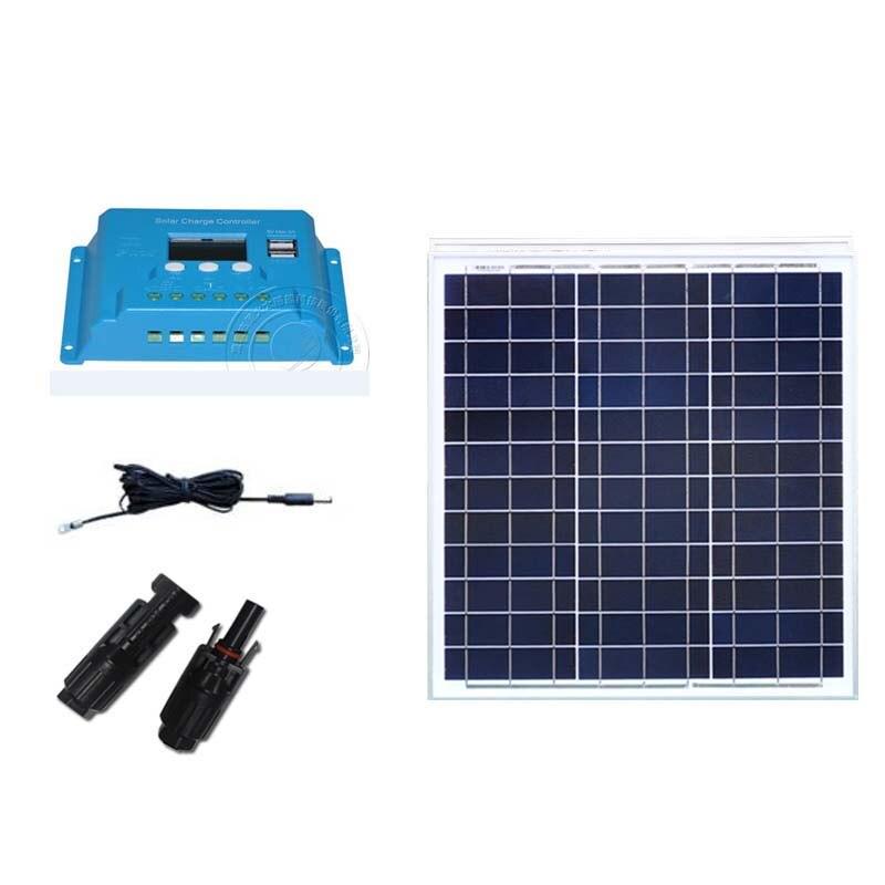 عدة الشمسية لوحة 12 فولت 40 واط Chargeur Solaire 12 بطارية فولت جهاز تحكم يعمل بالطاقة الشمسية 12 فولت/24 فولت 10A السيارات Carmping سيارة قافلة المنازل
