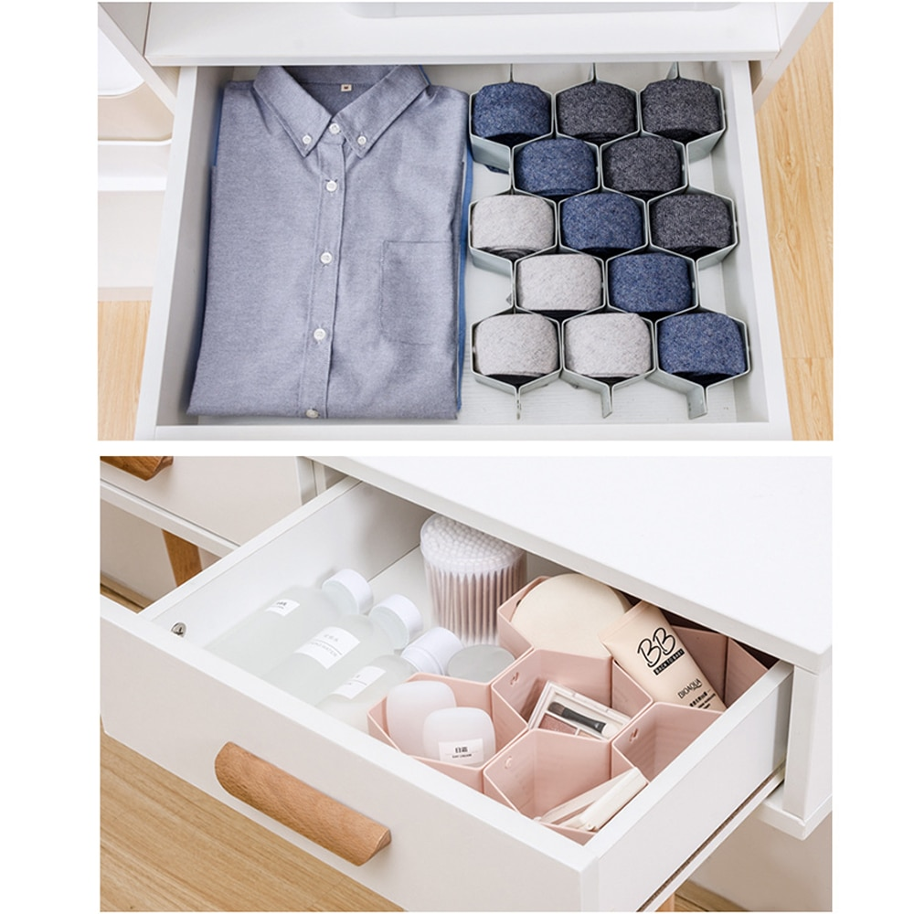 Cajón divisor de armario de panal ajustable con tapa organizador de armario para lazos calcetines sujetador ropa interior organizador divisores de gabinete