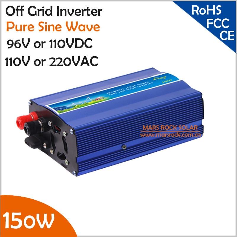 96V/110V DC to AC 110V/220V 150W pure sine wave inverter, small off grid inverter with UPS for solar or wind power system