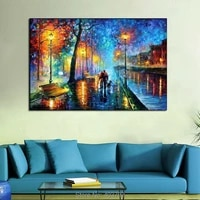 landscape hand painted unframed oil wall art lovers walking under lamp home decoration canvas oil painting for living room