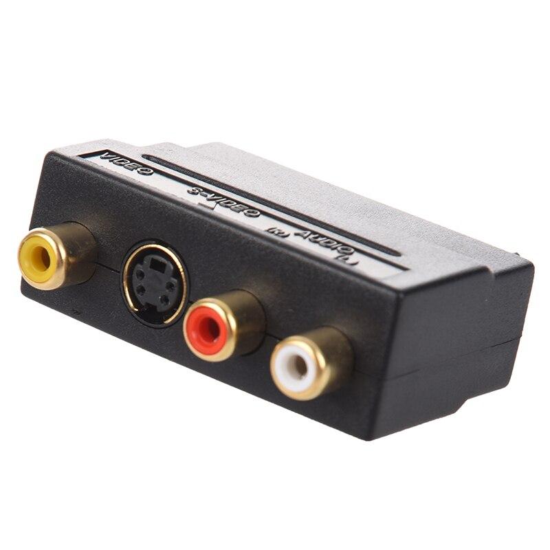 Rgb scart para compósito rca + s-vídeo av tv adaptador de áudio