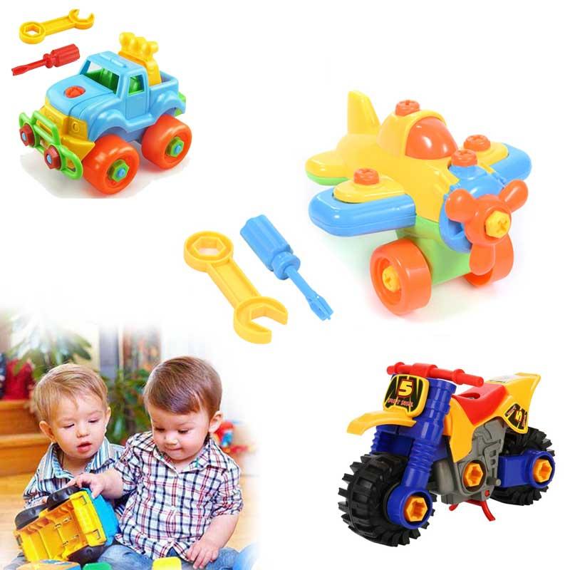 Tren de juguete para niños, DIY, desmontaje de avión, bloques de construcción de automóviles, modelo de herramienta con destornillador, juguetes educativos montados