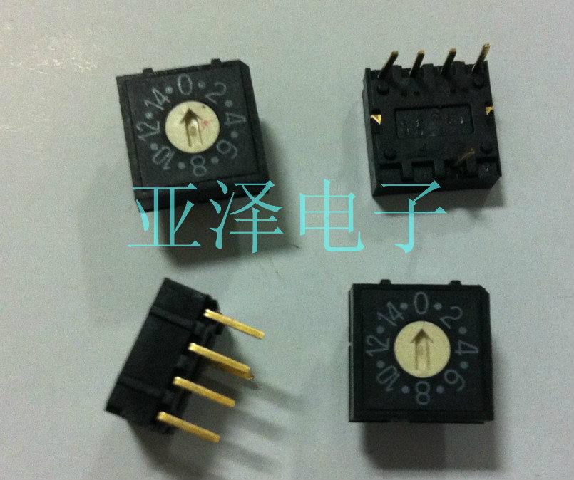 2 uds DIP taiwanés interruptor rotatorio redondo RH4, interruptor de Dial giratorio de 16 bits, interruptor de código, pin 41, código positivo