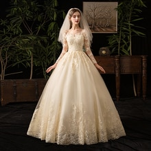 Mrs Win 2020 Wedding Dresses Muslim Champagne Full Sleeve Lace Bridal New Luxury Ball Gown Wedding Dress Vestido De Noiva X