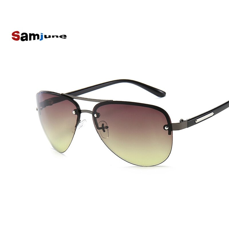 Samjune Fashion Rimless Sunglasses Brand Design Metal Pilot Sunglasses Man Driving Hiking Eyewear Gu