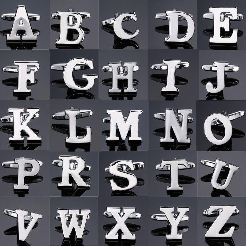 DY The new high latón de calidad plateado 26 letras A-Z plateado carta gemelos hombre franceses camisa gemelos, envío gratis
