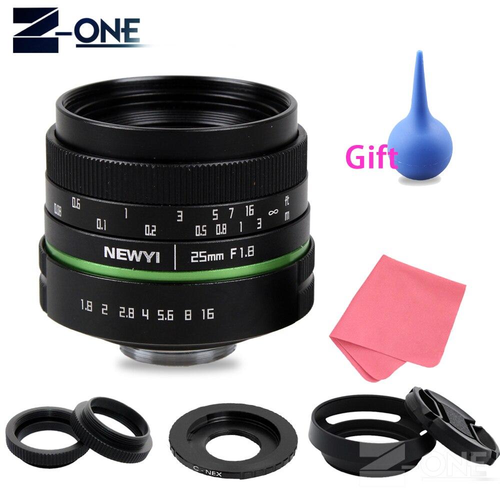 Objetivo de cámara Manual de 25mm F1.8 APS-C + adaptador de montaje C + Kit de anillos Macro para Sony E Mount NEX 3N 5 5R 6 7 A6300 A6000 A5100 A5000