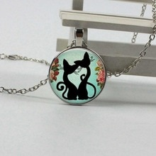 ZUWEI WU venta al por mayor de vidrio de arte con diseño de cristal Collar para gatito shabby chic colgante de gato ronda collar de cabujón