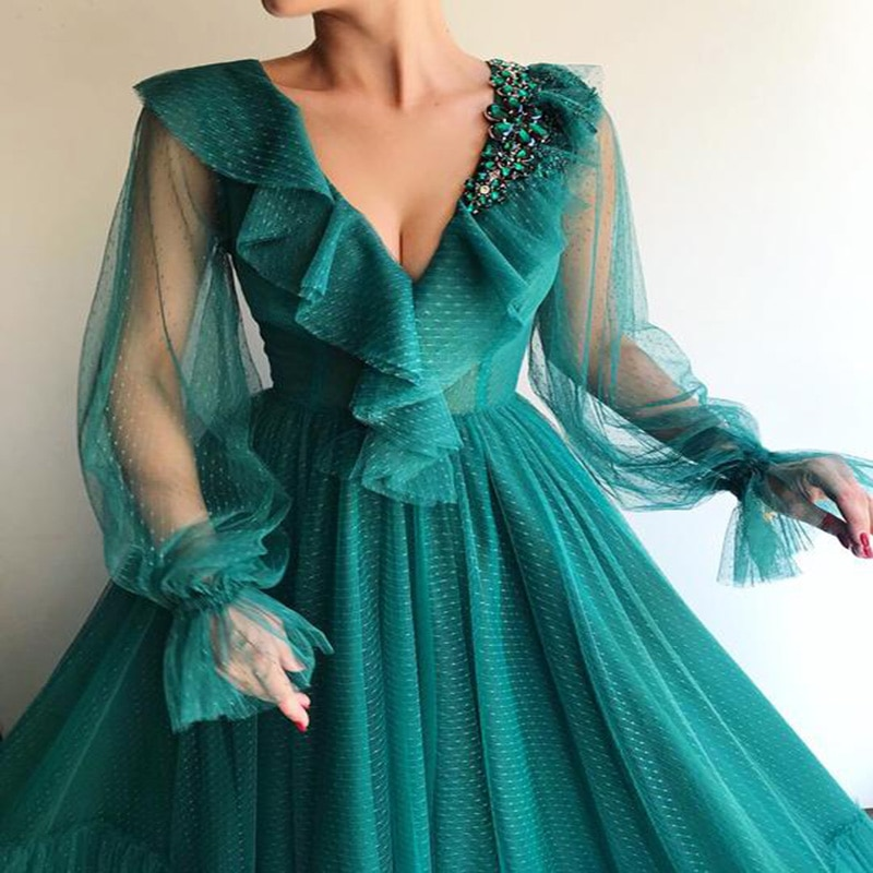robe de soiree With Lantern Sleeve Evening dress Handmade Flower Oman V-Neck Jade Prom Dress Formal Evening Gown