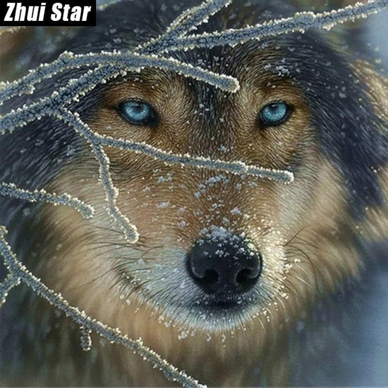 "Full Square Diamond 5D DIY Diamond Painting ""wolf in the snow"" Embroidery Cross Stitch Rhinestone Mosaic Painting Home Decor"