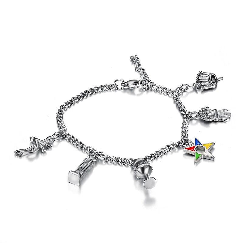 Nueva moda 316l Acero inoxidable OES pulseras de cadena Orden de la estrella oriental charms beads pulseras señoras