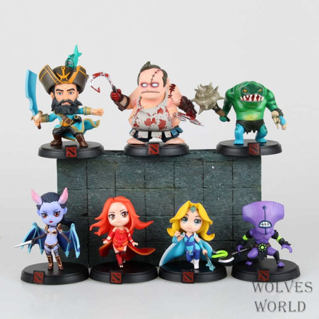 Figures WOW DOTA 2 Kunkka Lina Pudge Queen Tidehunter CM FV Action Figures Collectible PVC Toys 7pcs/lot