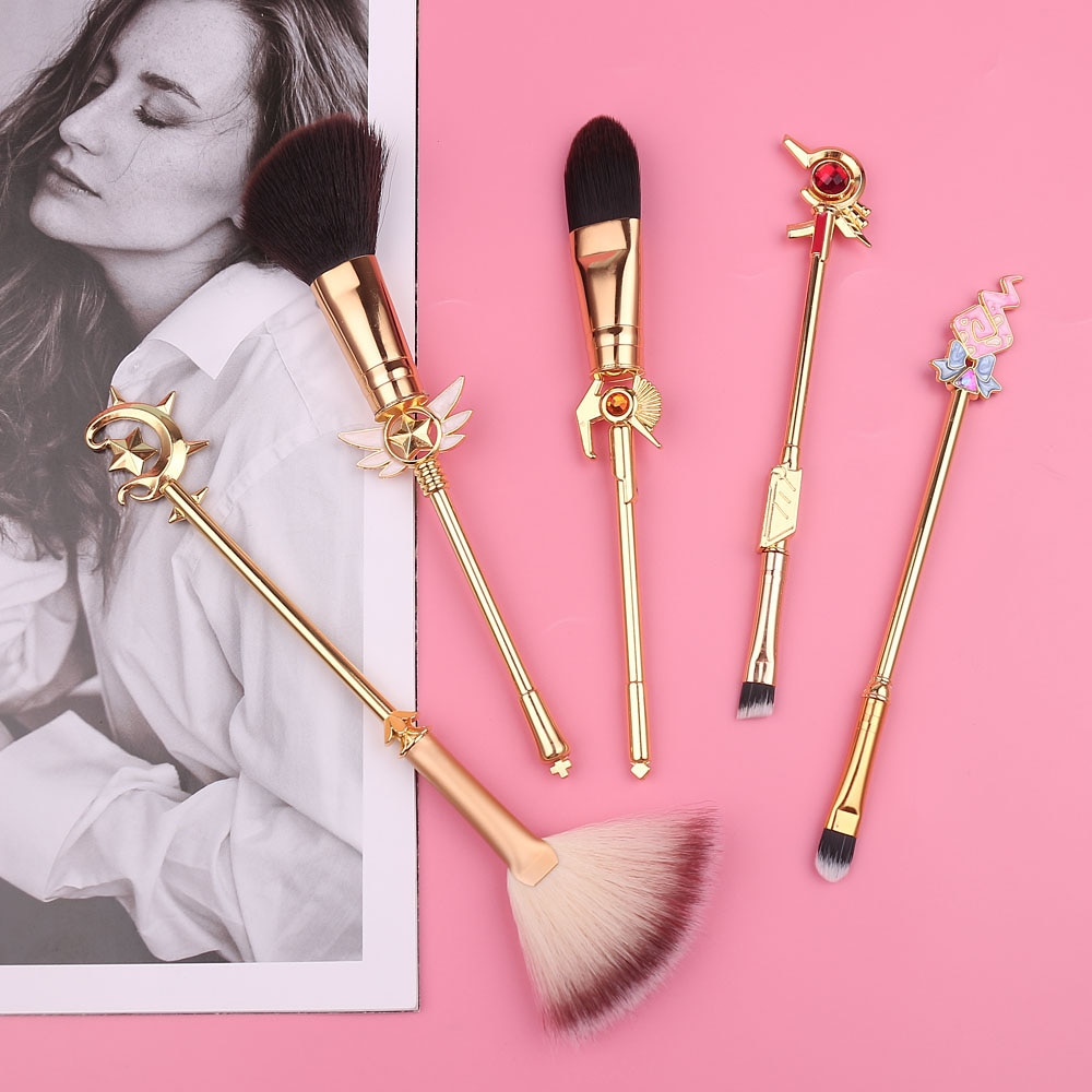 Juego de pinceles de maquillaje Golden Magic Girl, Accesorios de belleza y cosmética para base de maquillaje en polvo, sombras de ojos, contorno de rubor