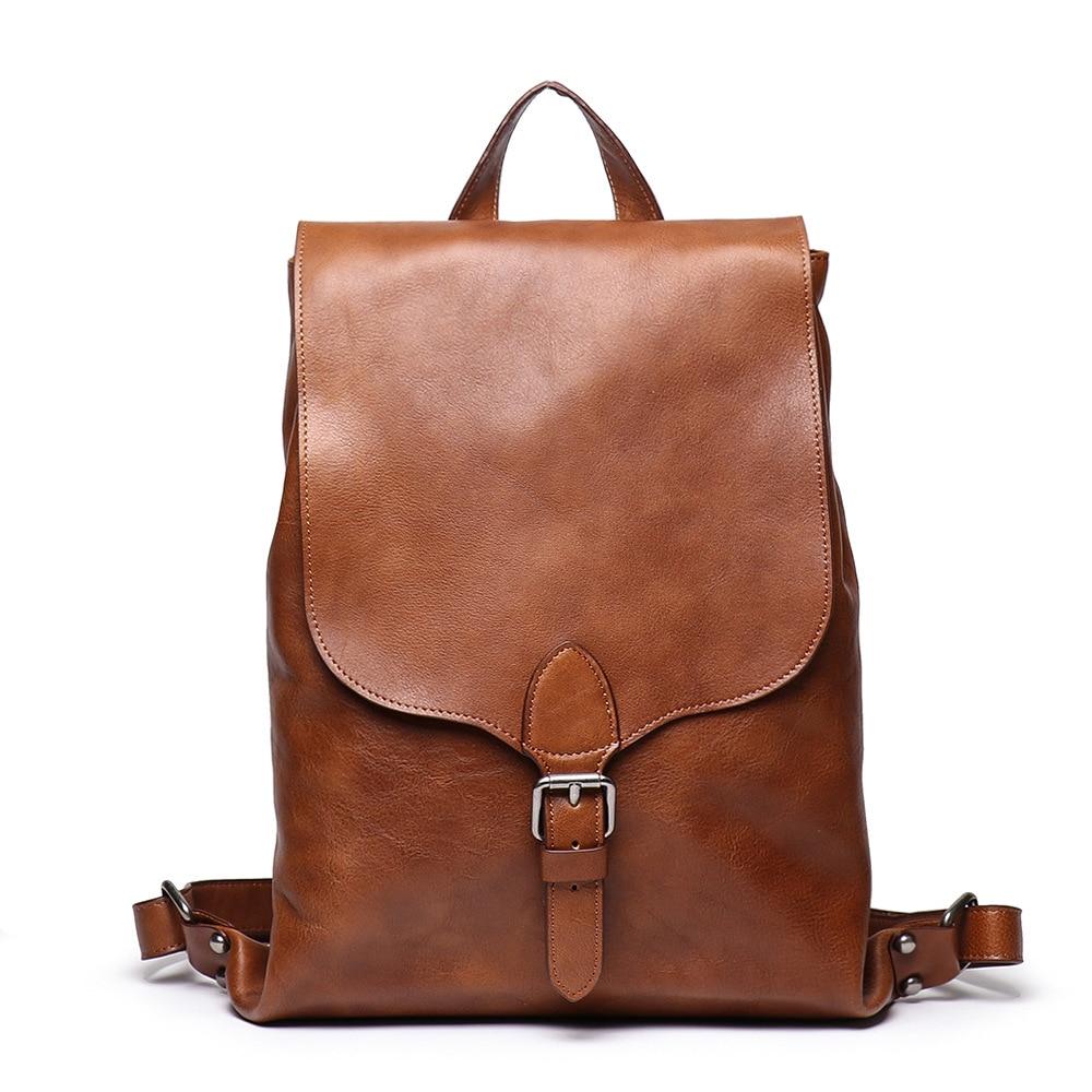 Nesitu-حقيبة ظهر جلدية أصلية للرجال والنساء ، حقيبة سفر ، عتيقة ، بنية ، محمولة ، محبوب ، M9019