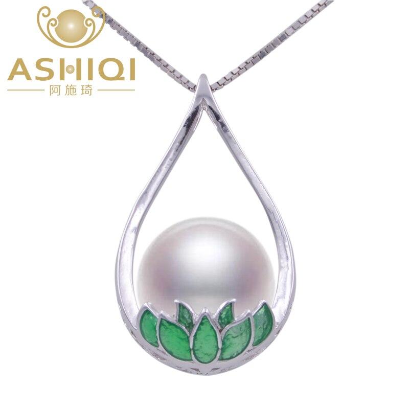 Collares de perlas de agua dulce de loto de esmalte plateado de Ley 925 de ASHIQI, colgante étnico chino de 10-11mm de Joyas de perlas Natural