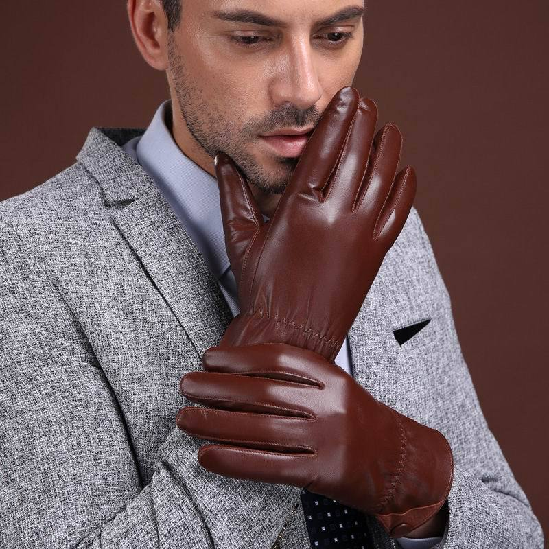 Genuine Leather Warm Gloves Men Winter Thick Driving Plus Velvet Thickening Goat GR-8008-5
