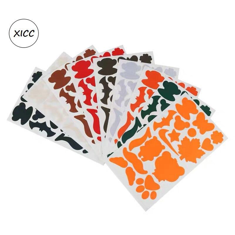 XICC 32 colores chaqueta autoadhesiva impermeable PVC parches diferentes dibujos animados forma apliques para abrigo moda DIY tela
