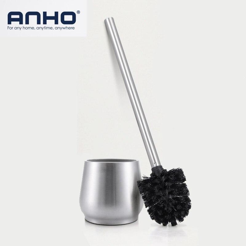 Juego de cepillos de acero inoxidable ANHO, cepillo para limpiar el baño de estilo europeo con Base en forma de lágrima, accesorios de limpieza para WC