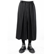 27-44! Large tailored pants for men 2018  Original design men's casual pants personality white line decorative loose skirt pants