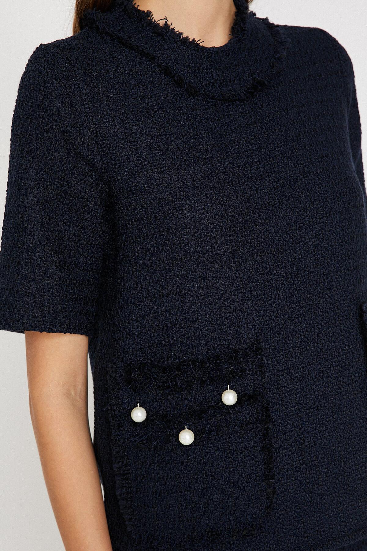Koton para mujer azul marino xirnci detallada Bluz 9 KAK68875PW