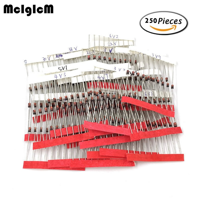 MCIGICM 1W (3V a 33V) 250 Uds 25 valores 1W diodos Zener Set de diodos surtidos surtido conjunto nuevo