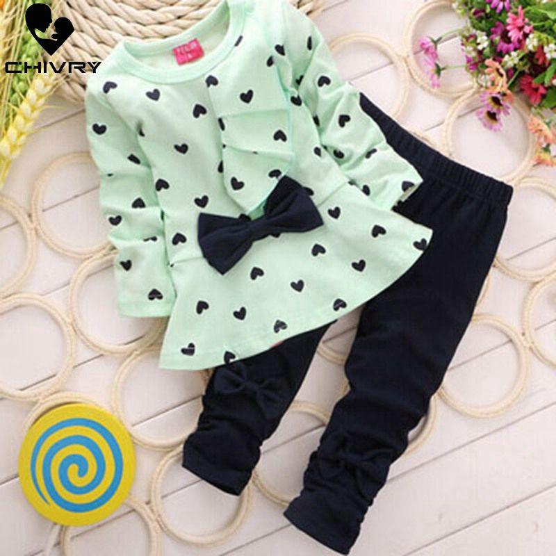 Conjunto de roupas para meninas, 2 peças, roupas para recém-nascidos, bebês, recém-nascidos, conjunto para primavera e outono, vestido com estampa de coração, com laço + calça lisa conjuntos de pano para crianças