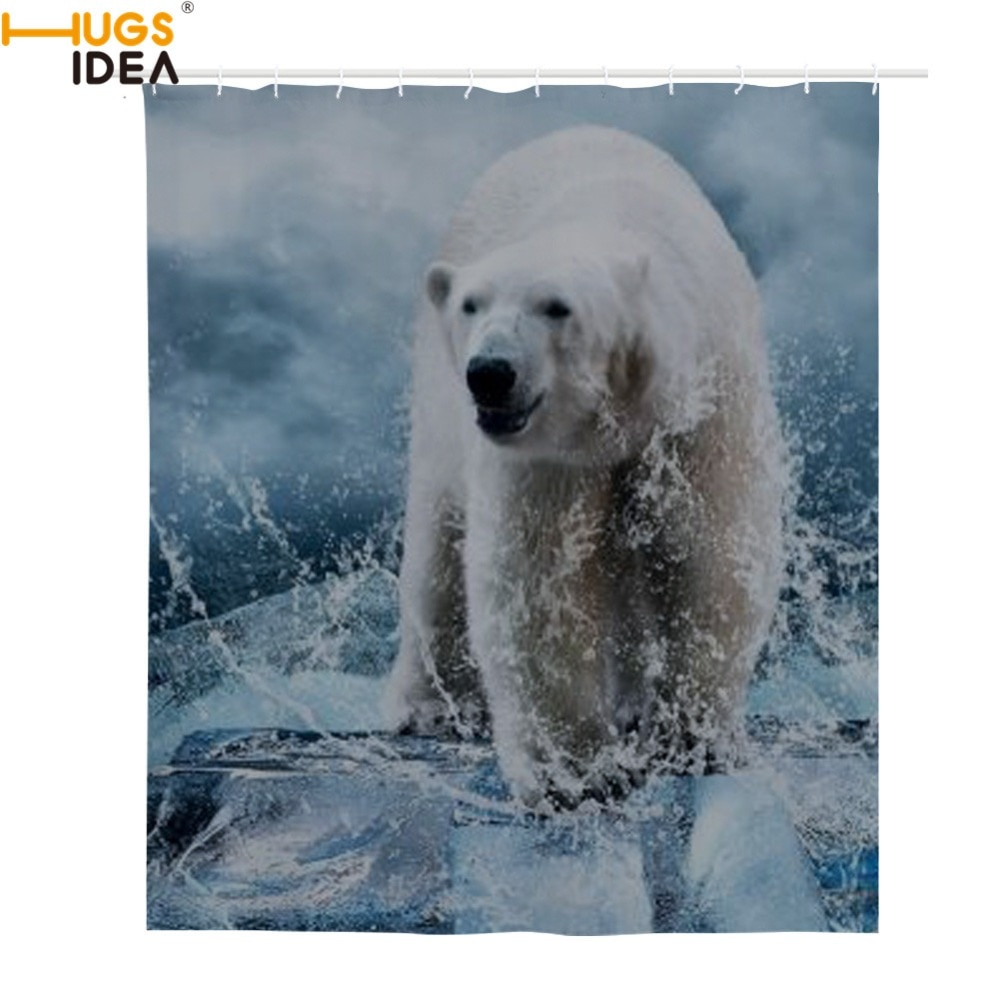 HUGSIDEA Oso Polar cortina de baño poliéster impermeable Cortina de ducha ganchos dinosaurio Lobo cortinas baño personalizar al por mayor