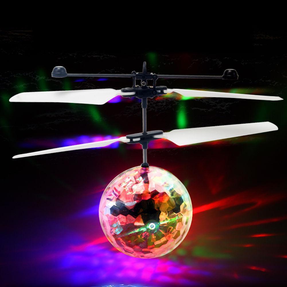 Dron de bola de vuelo por control remoto, juguetes de helicóptero, iluminación LED brillante integrada para niños, adultos, juguete volador con bola intermitente colorida