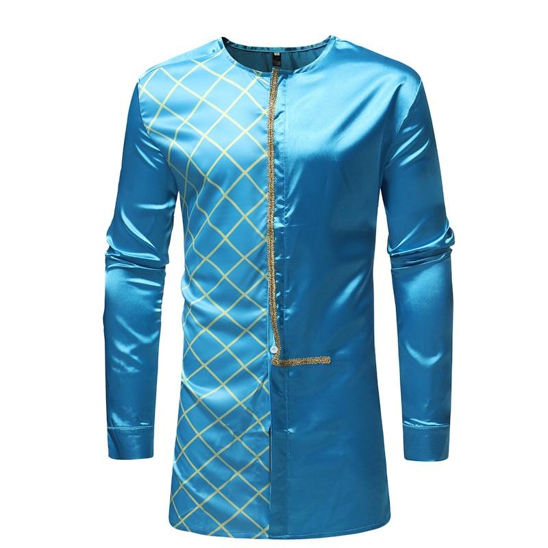 Ropa Africana Hipster para hombres, camisa a cuadros LongIine 2020, moda tradicional Dashiki Tribal, camisas, ropa africana para hombres