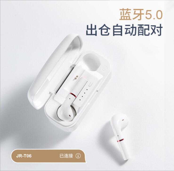 Fones de Ouvido Fones de Ouvido sem Fio Fone de Ouvido com Microfone de Redução de Ruído Joyroom Handsfree Fio Bluetooth 5.0 Tws Esportes Chamada Inteligente jr T06 sem