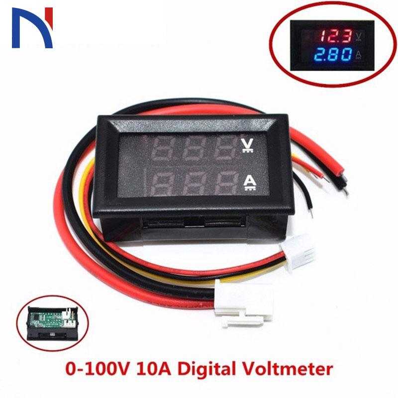 Dc 0-100v 10a Digital Voltmeter Ammeter Dual Display Voltage Detector Current Meter Panel Amp Volt Gauge недорого