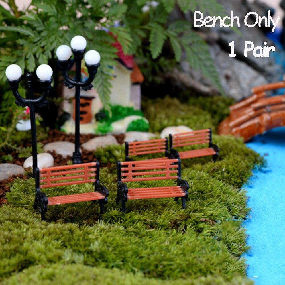 1 paar Miniatur Bench Stühle Micro Landschaften Harz Stuhl Handwerk Sukkulenten Bonsai Puppe Haus Park Stuhl Figuren Dekoration