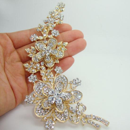 TTjewelry  New Elegant Luxury Rose Long Flower Leaf Gold Plate Art Nouveau Brooch Pin Clear Rhinestone Crystal