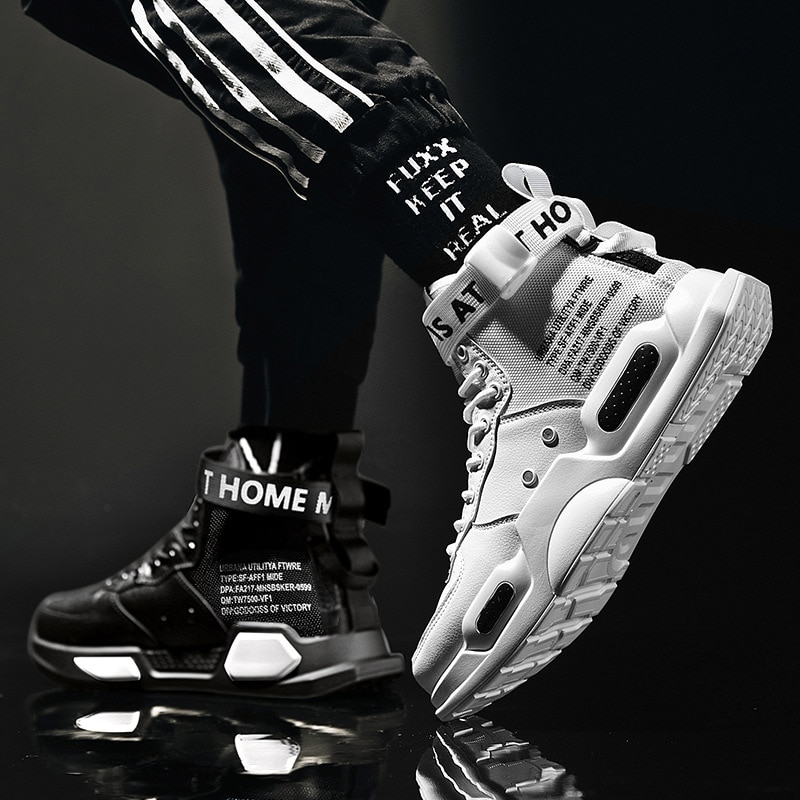 Men's High Top Fashion Leather Sneakers Trend Hot Sale Comfortable Man Casual Shoes Outdoor Non-slip
