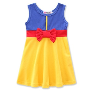 Girls Dresses Halloween Party Costume Cotton Sleeveless Bow-tie Dress Children Cosplay Clothes Snow White Girl Princess clothes