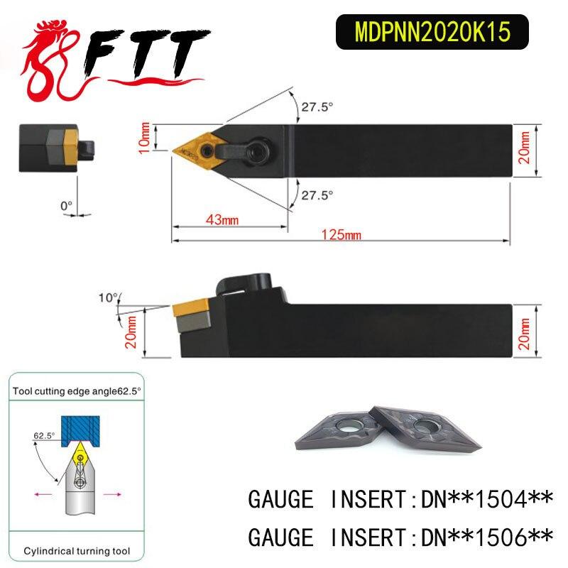 Portaherramientas de torneado exterior MDPNN2020K15 de 62,5 grados para DNMG150404 DNMG150408 utilizado en máquina de torno CNC