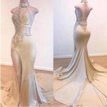 Nouveau Design femmes robe de soirée 2019 mode arabie Style perlé appliques robes de bal Sexy côté fente dos nu robe de soire