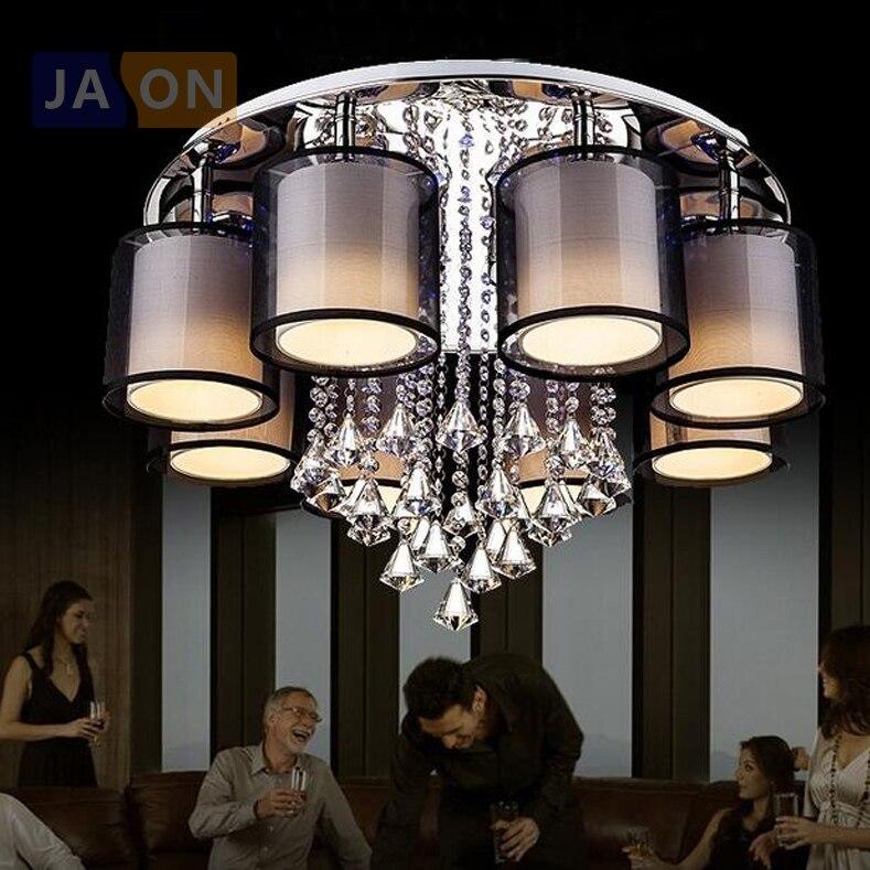 Lámpara led e27 de cristal de tela de hierro, lámpara LED de techo, lámpara LED de techo, luz de techo para vestíbulo, comedor, dormitorio