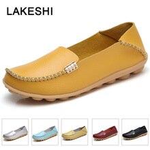 2019 mode en cuir véritable femmes chaussures plates femme ballerines femme mocassins 18 couleur mocassin Slip-On dames chaussures mère