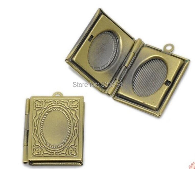 Free Shipping Bronze Tone Rectangle Picture/ Photo Locket Frame Pendants 21x19mm