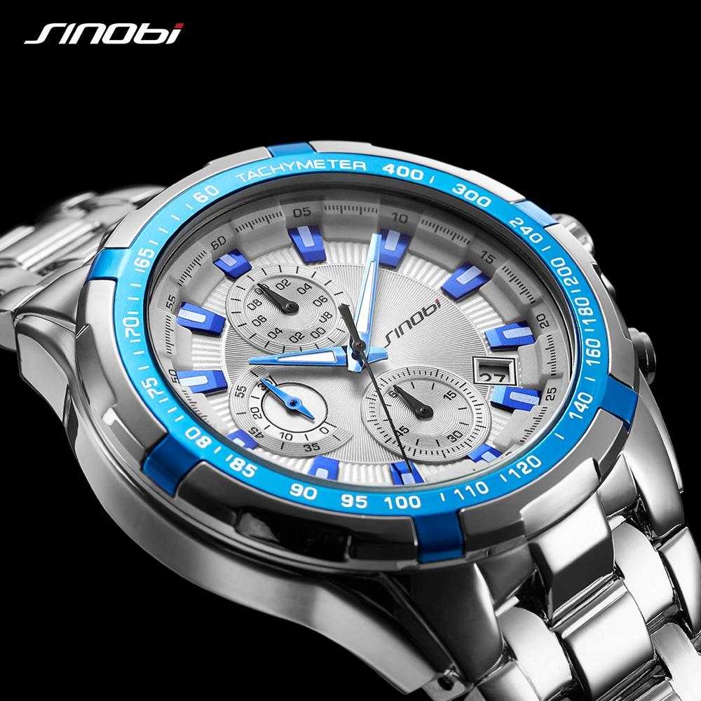 SINOBI Chronograph Verkäufe Uhren Kreative Luxus Wasserdichte Business Quarz armbanduhr Top Band Sport Uhr Relogio Masculino