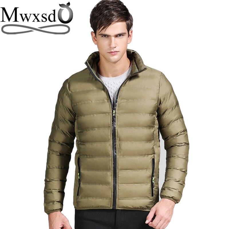 Mwxsd Brand мужские зимние парки куртка мужская толстое хлопковое пальто и куртки Slim