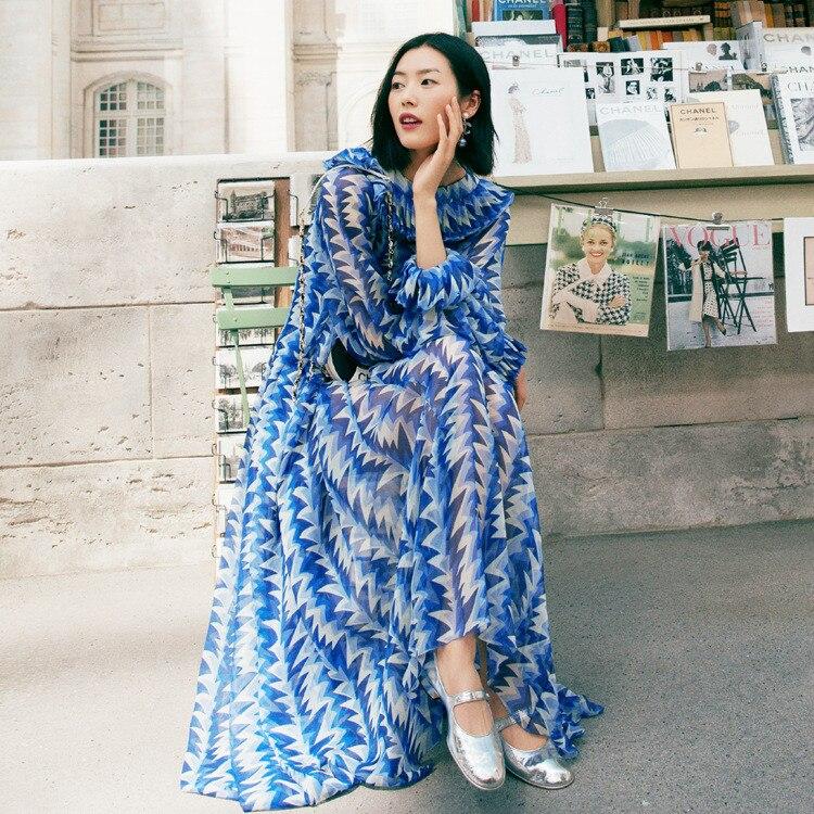 Vestido de gasa de manga larga de las mujeres de moda 2019 verano runways estampado elegante vestido A490