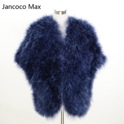 Jancoco Max Moda Estilo Novas Mulheres Poncho de Pele De Penas de Avestruz Real Ou Senhora Turquia Fur Xaile Atacado/Varejo S1244