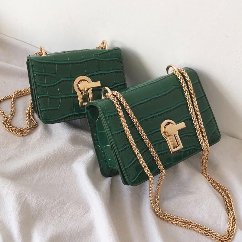 Mini Square Flip bag 2020 Summer New Quality PU Leather Women's Designer Handbag Stone pattern Lock Chain Shoulder Messenger Bag
